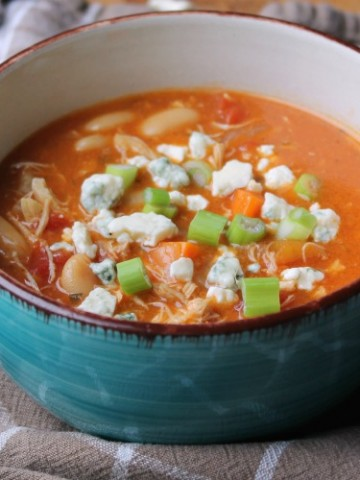 buffalo chicken soup complete in bowl