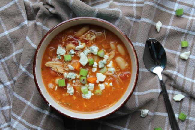buffalo chicken soup aerial view