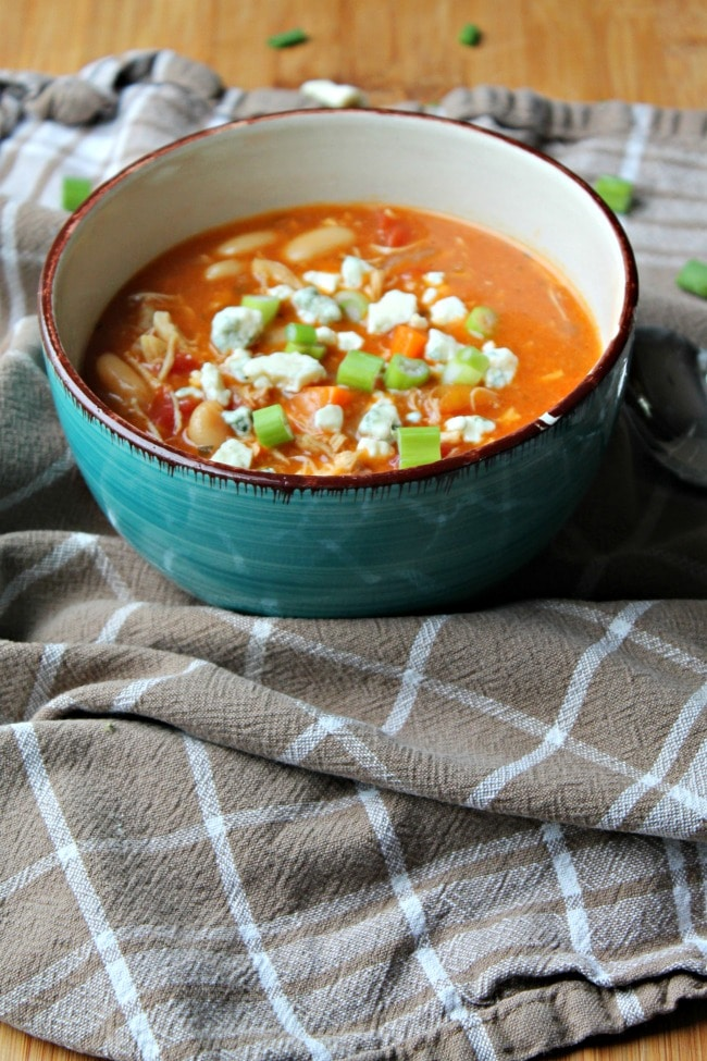 buffalo chicken soup on dish towel in bowl served