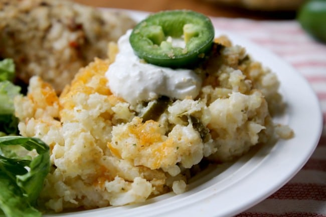 jalapeno rice with sour cream on top