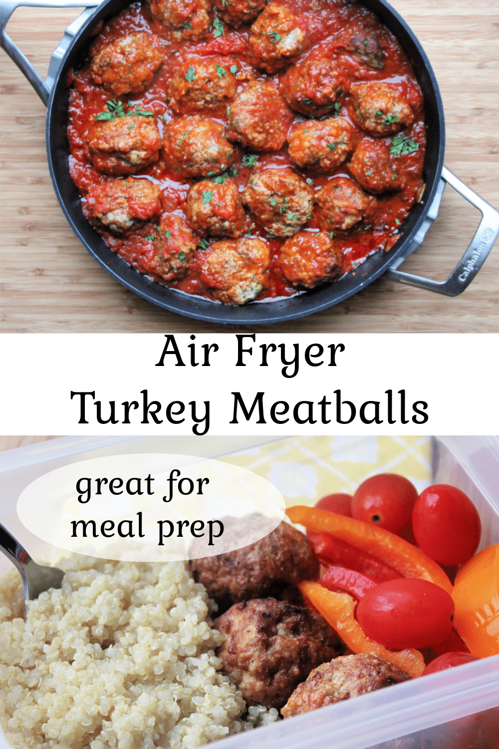 Air Fryer Turkey Meatballs in pan with sauce and in meal prep bowl
