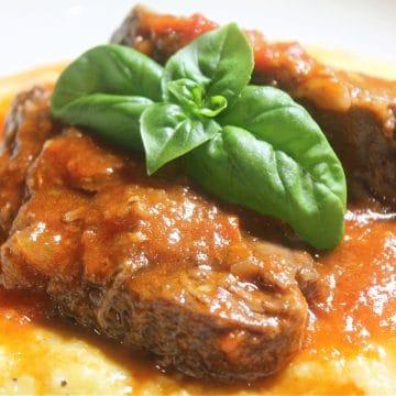 italian style pot roast on polenta