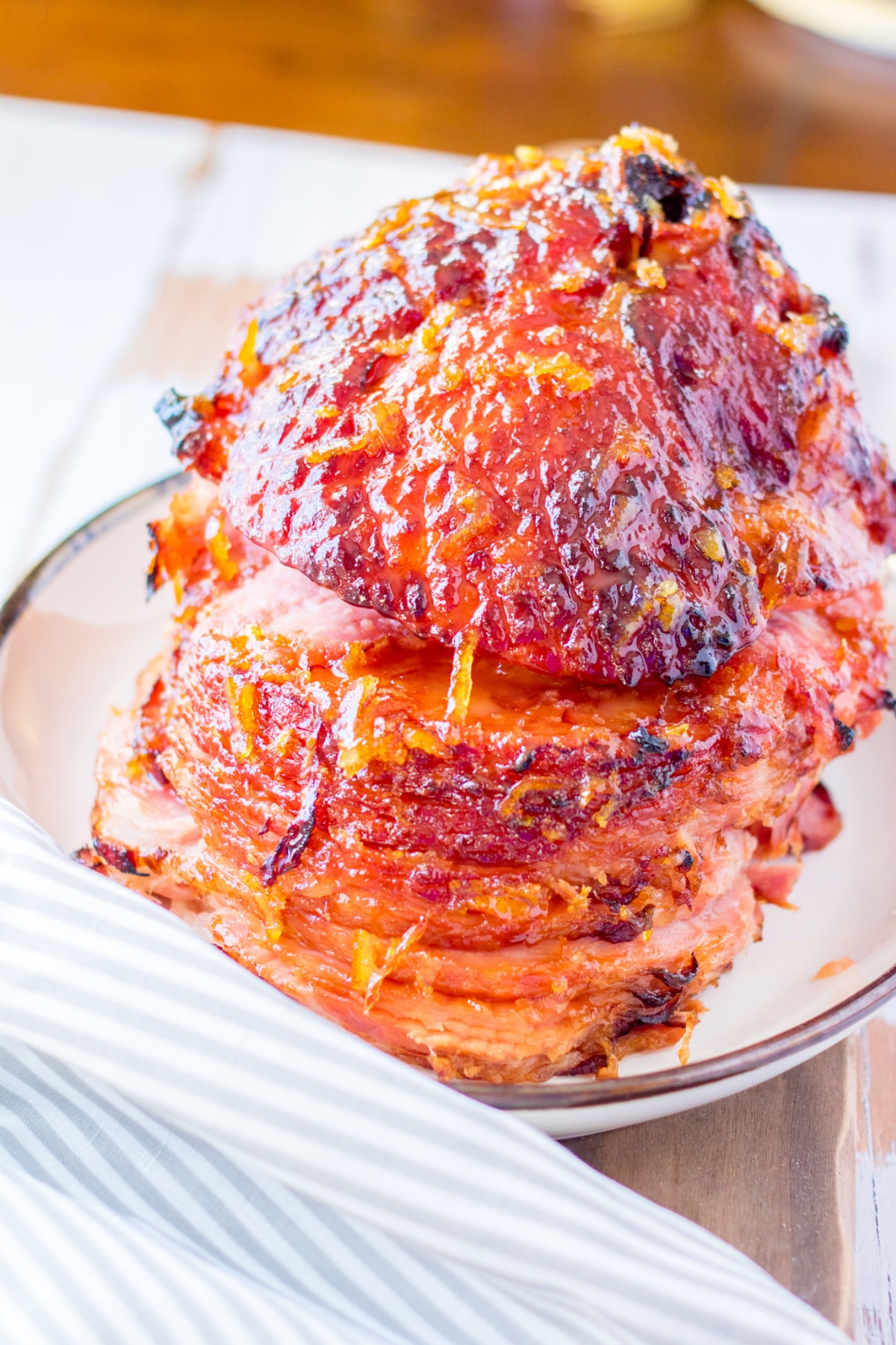cooked ham on serving platter