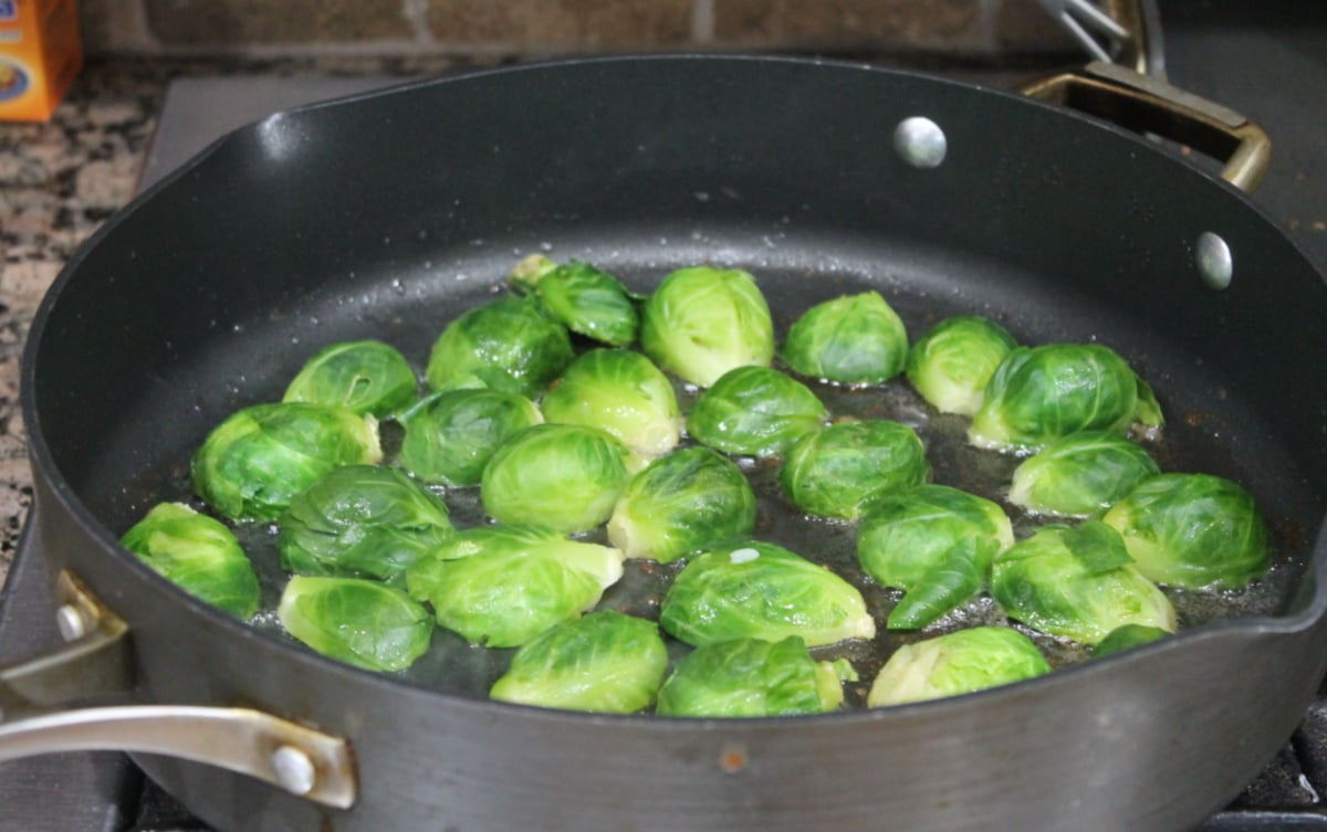 sprouts in skillet cut side down
