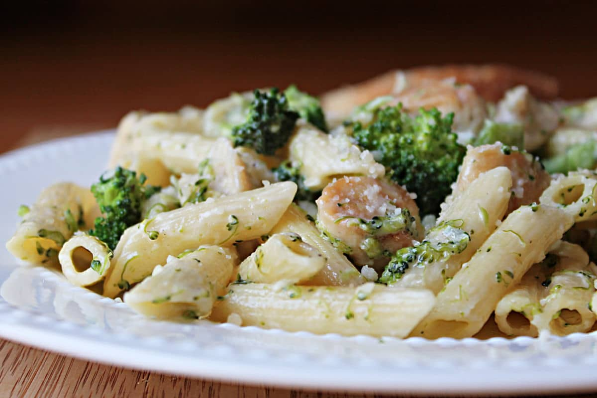 up close plated pasta dish with broccoli and topped with cheese on a white plate