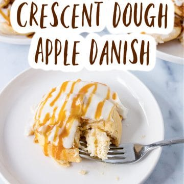 danish on plate with fork and title text above